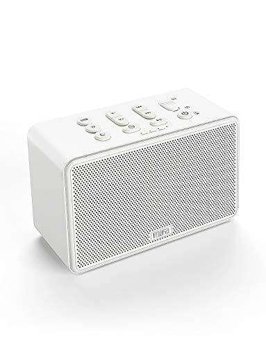 Vincitore del Test 2019 MIFA C10 Terapeutico con Rumore Bianco White Noise, 24 Suoni Rilassanti e Funzione di Memoria, Supporta Slot per Schede SD, Jack 3,5 mm e Interfaccia USB, Bianco