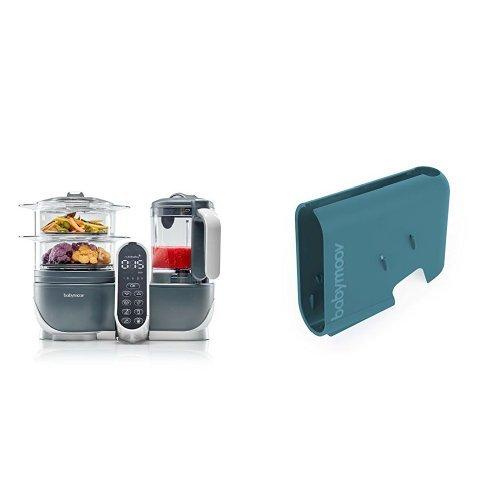 Babymoov Nutribaby (+) industrial grey - Multifunktions Küchenmachine + Babymoov Displaygehäuse Nutribaby (+) arctic blue
