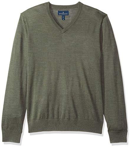 Buttoned Down Herren Leichter Cash-Wolle-Pullover aus Italienischer Merinowolle mit V-Ausschnitt, Grün (Olive Heather Oli)), X-Large - Wolle Italienische Herren-kleid