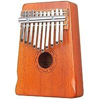 Amosic Mogano Kalimba di 10 Tasti Thumb Piano Strumenti musicali per Music Lover e principianti, Martello di supporto e notazione musicale