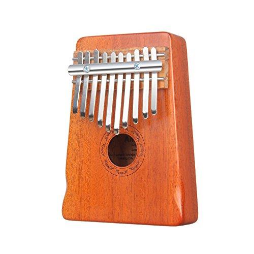 Amosic Kalimba Lamellophone 10 Schlüssel Daumenklavier Spielzeug Afrikanischen Musikinstrument mit Stimmwerkzeug und Notenschrift