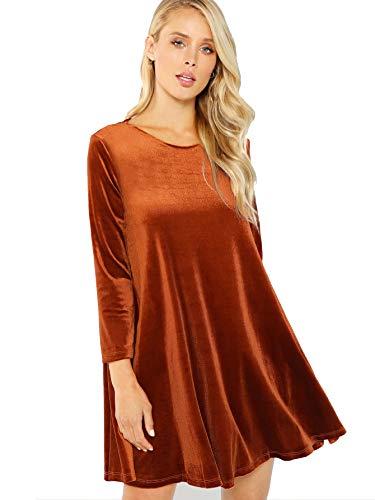 Flared Sleeve Velvet Kleid (Verdusa Damen Velvet Swing-Kleid Langarm-Shift-kittel-Kleid groß rost)