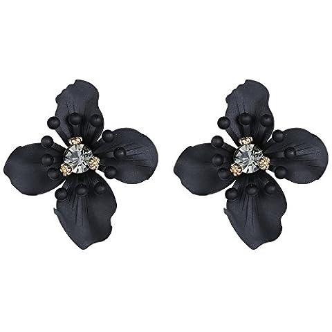 eManco Vintage-Statement Blume beiläufige Bolzen-Ohrringe für Frauen-Kristalllegierungs-Schmucksache-Schwarz