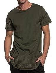 Sixth June - T-shirt homme oversize kaki avec bandes relief