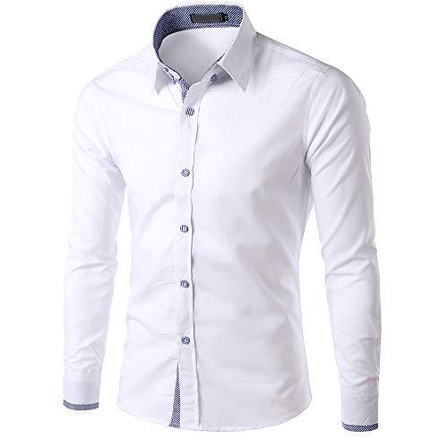 Hemd Männer Business Casual Herren Freizeit Hemden Shirt Tops Mode Langarmshirts Slim Fit Komfortable Briskorry Hibiscus Tank