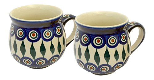 hand-decorated-polish-pottery-manu-faktura-set-2xk-090-54-ball-cup-pair-95-cm-cobalt-blue-2-units