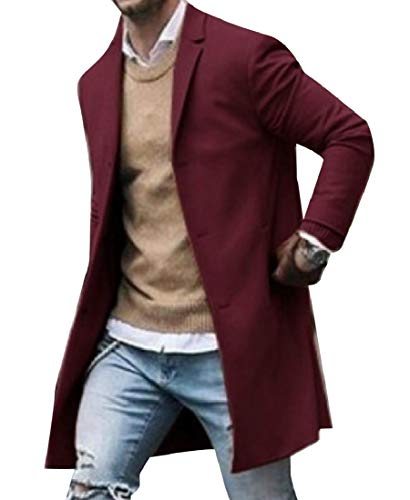 CuteRose Mens Notched Lapel Eco Fleece Fall Winter Trench Coat Jacket Wine Red M Tall Classic Peacoat