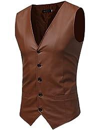 Clásico Waistcoat PU Chaleco Hombre Negocios Blazers Sin Mangas 94364bbc1e64