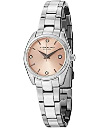Stuhrling Original Lady Ascot Prime Women's Quartz Watch with Baby Pink Dial Analogue Display and Silver Stainless Steel Bracelet 414L.02