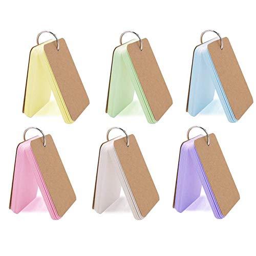 6er-Pack 300 Stück Flash-Karten blanko Lernkarten Revision Karten Mehrfarbig Kraftpapier Binder Ring Easy Flip Memo Scratch Note Pads Lesezeichen DIY Grußkarte Karteikarte (Kraftpapier Binder)