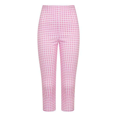 Hell Bunny Judy Rosa Gingham Retro Klassisches 1950s Hohe Taille Zigarette Hose - Baby Rosa und Weiß, 22 (4X-Large)