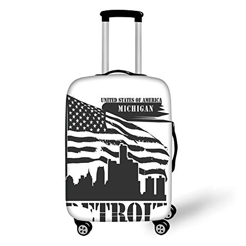 Michigan Trolley (Travel Luggage Cover Suitcase Protector,Detroit Decor,Monochrome Grunge City Silhouette American Flag United States Michigan Decorative,Black and White,for Travel,S)