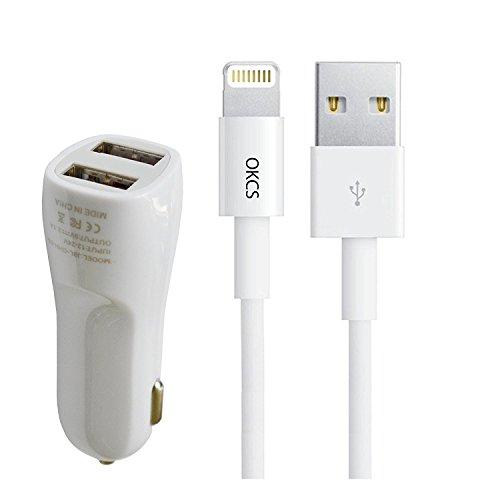[Apple MFi zertfiziert] Apple Lightning Kabel OKCS - 2 x 1 Meter - iOS 10- + Dual USB KFZ Schnellladegerät für iPhone 7, 7 Plus, 6s, 6s Plus, iPad Pro und weitere mit Lightninganschluß