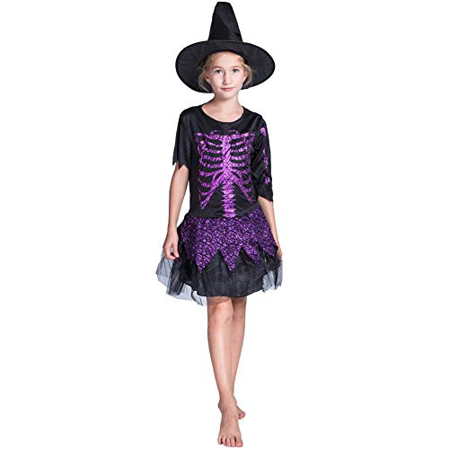 YouN Novelty Funny,Cute Girls Glitter Skull Witch Cosplay Dress Cap Halloween Outfit Set (L)