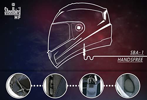 85d45dca Steelbird SBA-1 7Wings HF Dashing Full Face Helmet with Smoke Visor and  Detachable Handsfree