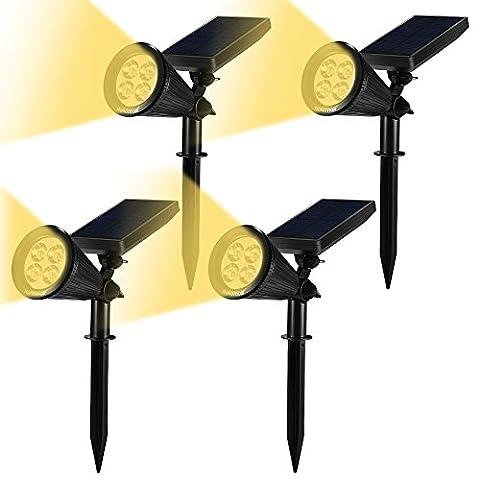 GrandeBeing® led solar garten leuchten außen lampen Rampenlicht Wand Lampen Solar Betrieben Wasserdicht Beleuchtung für Landschaft Garten Fahrweg Pfad Hofen Rasen, Solar Energie Freiland Leuchten, Praktische Sichere Lampen nicht nur für den Boden auch für Wände (2