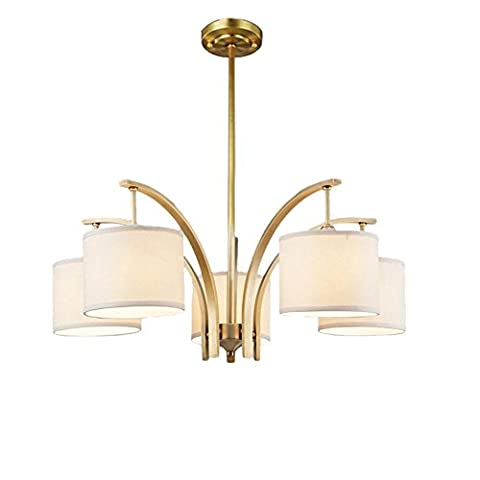 Modern Simple Use theHardware Material Ceiling Chandelier with Linen Shade , Beige , 5 Lights