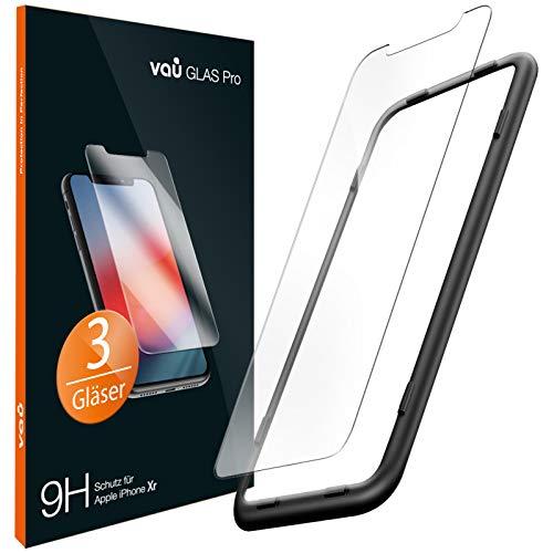 vau Glas kompatibel mit iPhone Xr Panzerglas Pro Schutzfolie 3 x Panzerglasfolie Vorne + Installationswerkzeug Displayschutzfolie Front (kompatibel zu Apple iPhone 10r 6.1 LCD 2018)