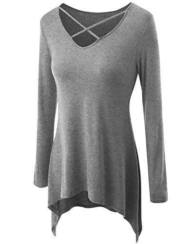 uideazone Damen Casual Tunika Tops Criss Cross V/Rundhals Lange Ärmel T-Shirts Grau
