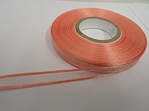1 rouleau de ruban d'organza bordé de 10 mm x 25 mètres, rose clair, double face, bord satiné, 10mm