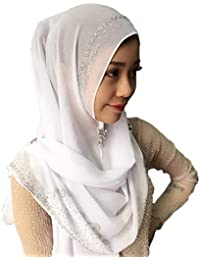Sciarpa Cappello Ladies Fashion Elegante Arabia Saudita Dubai Turban Plain Facile  Da Abbinare Bone 02ea9a6a92ca