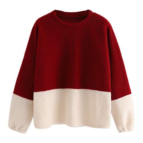 Stich Kostüm Rot - Beikoard Damen Herbst O Hals Langarm Bluse Einfarbig Stich Pullover Casual Bluse Top Einfarbige Sweater Sport Sweatshirt