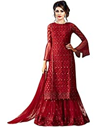 377996a18 Style Amaze Women s Georgette Embroidered Straight Cut Semi-Stitched  Sharara plazzo Suit(Red Color SA51 ST 54001red