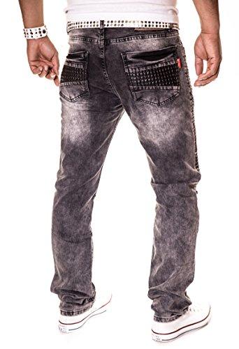 HERREN JEANS HOSE STRAIGHT CUT FIT STRETCH W29-W38 3115 washed grau