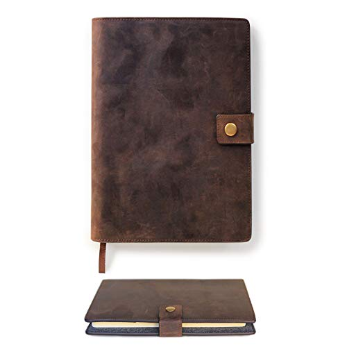 Full Grain Premium Leather Refillable Journal Cover with A5 Lined Notebook, Pen Loop, Card Slots, Brass Snap by Case Elegance Big Snap