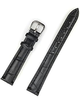 Uhrenarmband aus echtem Leder 14 mm Schwarz Kroko-Optik - 14mm Uhren Armband