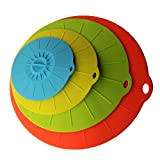Kuke Bright Colors Silicone Suction Lids Food Covers Bowl Covers for Camping Hiking Daily Use (Multi)