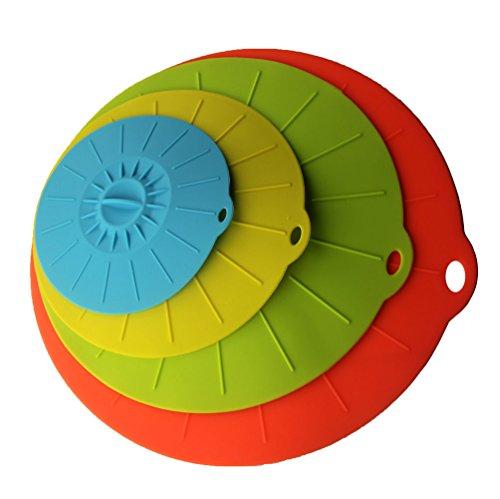 Kuke Set of 4 Silicone aspirazione Coperchi colori luminosi alimentare Copertine Copertine Copertine Bowl-a microonde