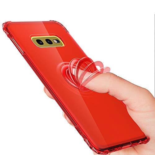 Preisvergleich Produktbild Nadoli Silikon Handyhülle für Galaxy S10e, Ultradünne Weich Kratzfest Stoßfest TPU Bumper Flexibel Schale Schutzhülle Etui mit 360 Grad Ringständer für Samsung Galaxy S10e