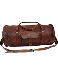 Leather Bag Vintage Genuine 24'' Round Duffle Cum Gym Bag By Znt Bag Kfd - 5010