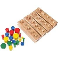 PETSOLA Montessori 4 Bloques de Zócalo Apilamientos Fiesta de Juguete de Madera Divertido Pequeños Regalos para Niños