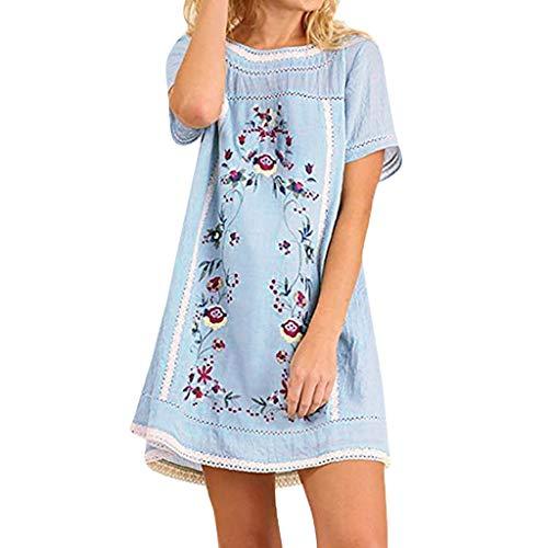 (Zegeey Damen Oberteil T-Shirt Kurzarm Rundhals Blumen BöHmen Sommer LäSsige Lose Bluse Tunika Pullover Shirts Kleid(Blau,EU-34/CN-S))