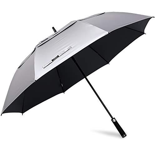 G4free 172,7cm extra grande ombrello da golf antivento protezione uv sole e pioggia ombrello ombrello auto open ventilato oversize a doppio telo per uomo donna (nero)