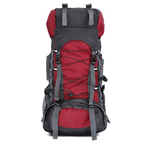 Große Reise Wandern Camping Hochleistungs Rucksack Rucksack Urlaub Gepäck Tasche,Black Red