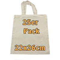 Baumwolltasche Jutebeutel unbedruckt ideal zum Bemalen Apothekertasche Geschenktasche natur klein 22x26cm 25 Stück