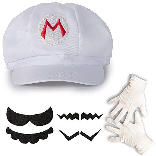 Weißes Super Mario Kostüm-Set Mütze, Handschuhe, Bart für Erwachsene oder Kinder