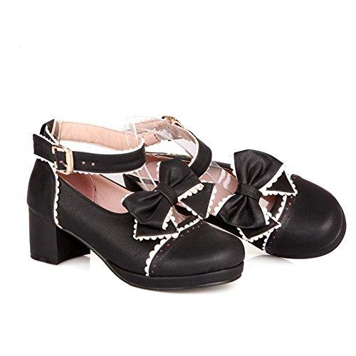 AgooLar Damen Mittler Absatz Pu Leder Gemischte Farbe Schnalle Rund Zehe Pumps Schuhe Schwarz