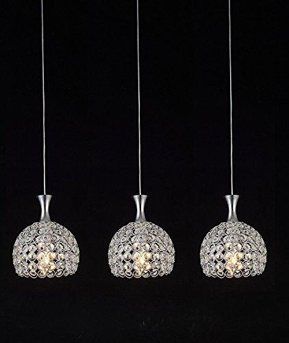 Glighone 3 flammig LED Pendelleuchte Hängeleuchte Modern Kristall Hängende Deckenleuchte Kronleuchter Esstischlampe für Esstisch Küche Flur Wohnzimmer Schlafzimmer Hotel Bar usw.