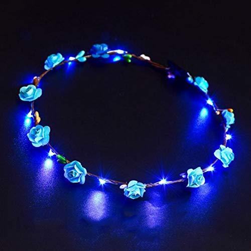 Jiobapiongxin LED Leucht Kranz Blume Krone Haarband Blume Haarschmuck Festival