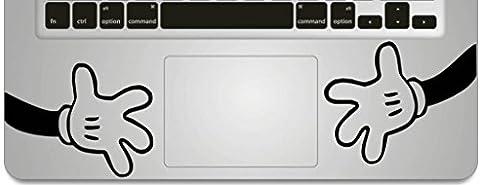 Vati Feuilles conception fraîche vinyle amovible Big Hands Humour Handmade Art partielle Decal Sticker peau pour Trackpad Clavier d'Apple Macbook Pro Air Mac Laptop