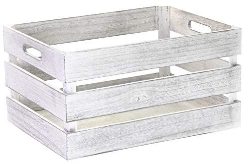 LAUBLUST Vintage Holzkiste mit Griffen - ca. 39 x 29 x 21 cm, Weiß, FSC® - Aufbewahrungskiste | Möbel-Kiste | Dekobox