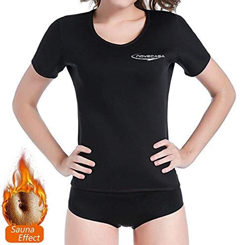 NOVECASA Sauna T-Shirts Femme Néoprène Chemise pour Brûler Graisses Abdominaux Minceur Gym Fitness Yoga (L, Noir-Noir)