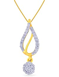 Malabar Gold And Diamonds 18KT Yellow Gold And Diamond Pendant For Women - B0777T59K1