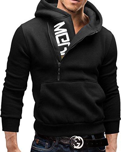 MERISH Hoodie Herren Kapuzenpullover Logo Sweatshirt Modell 08 Schwarz