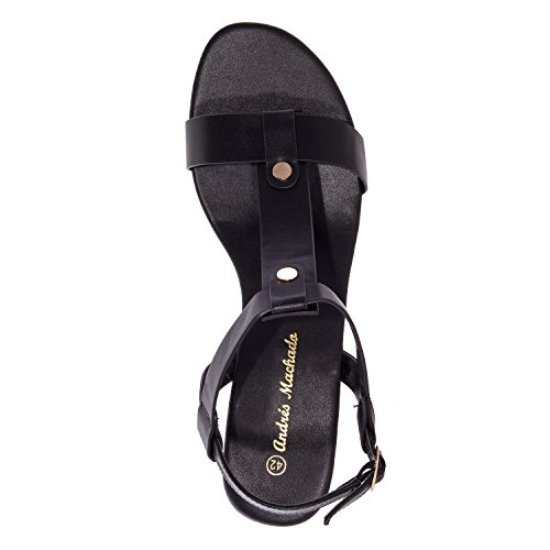 Andres Machado - AM5184 - T-Bar-Sandalen aus Soft in Eisfarben AM5184 Soft Schwarz
