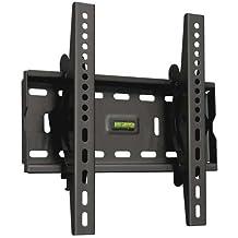 "TooQ LP4537T-B - Soporte fijo inclinable de pared para monitor/TV/LED de 17"" a 37"", hasta 75kg de peso, distancia a la pared 63mm, incluye nivel de burbuja, inclinacion -15º, formato VESA hasta 300x300, color negro"